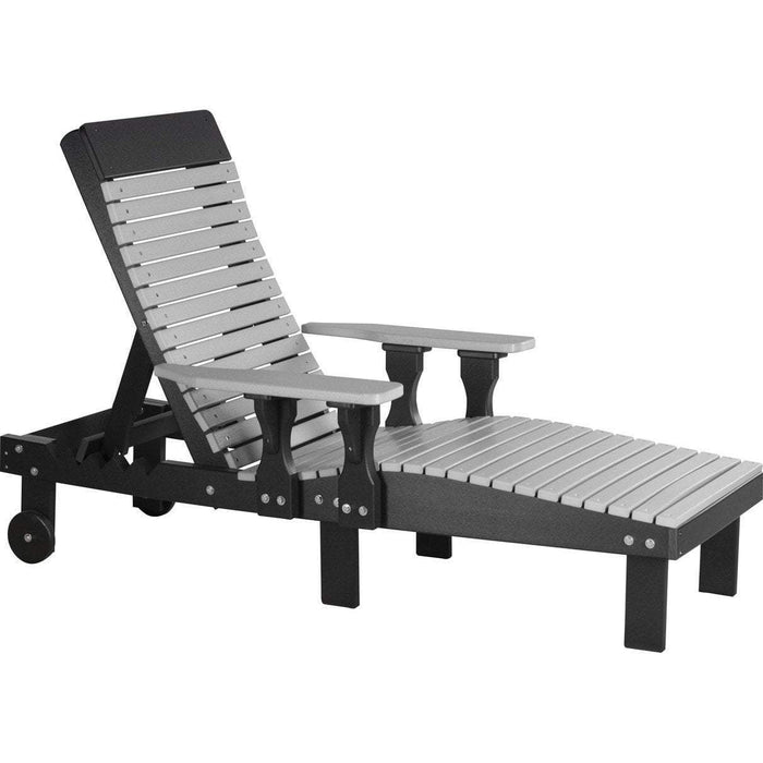 LuxCraft LuxCraft Recycled Plastic Lounge Chair Dove Gray On Black Adirondack Deck Chair PLCDGB