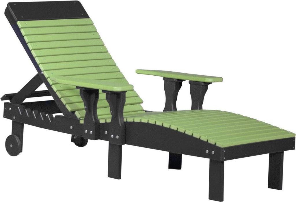 LuxCraft LuxCraft Recycled Plastic Lounge Chair Lime Green On Black Adirondack Deck Chair PLCLGB