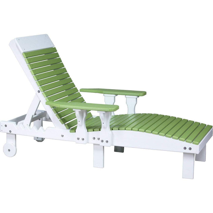 LuxCraft LuxCraft Recycled Plastic Lounge Chair Lime Green On White Adirondack Deck Chair PLCLGW