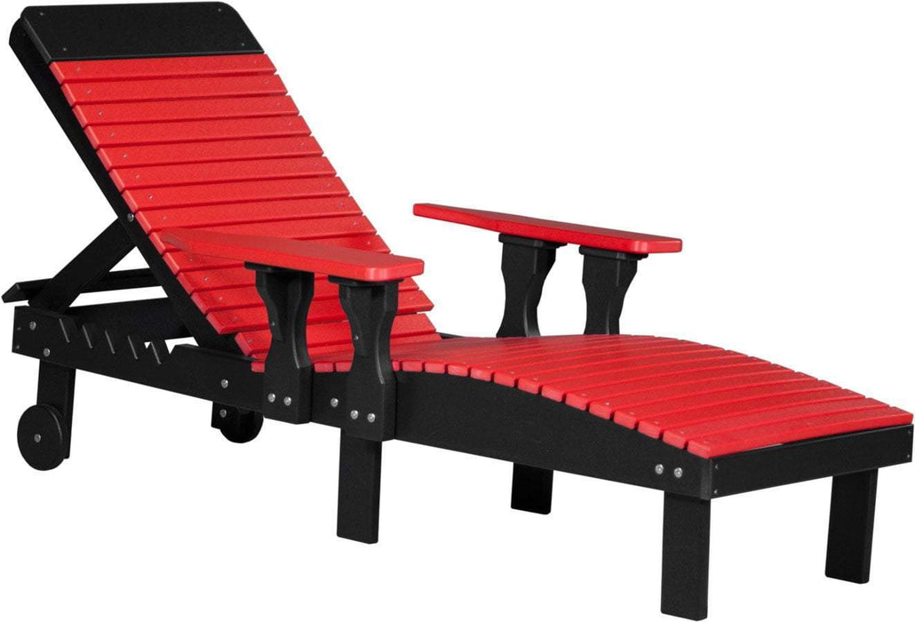 LuxCraft LuxCraft Recycled Plastic Lounge Chair Red On Black Adirondack Deck Chair PLCRB