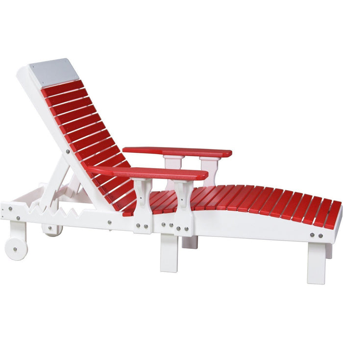 LuxCraft LuxCraft Recycled Plastic Lounge Chair Red On White Adirondack Deck Chair PLCRW