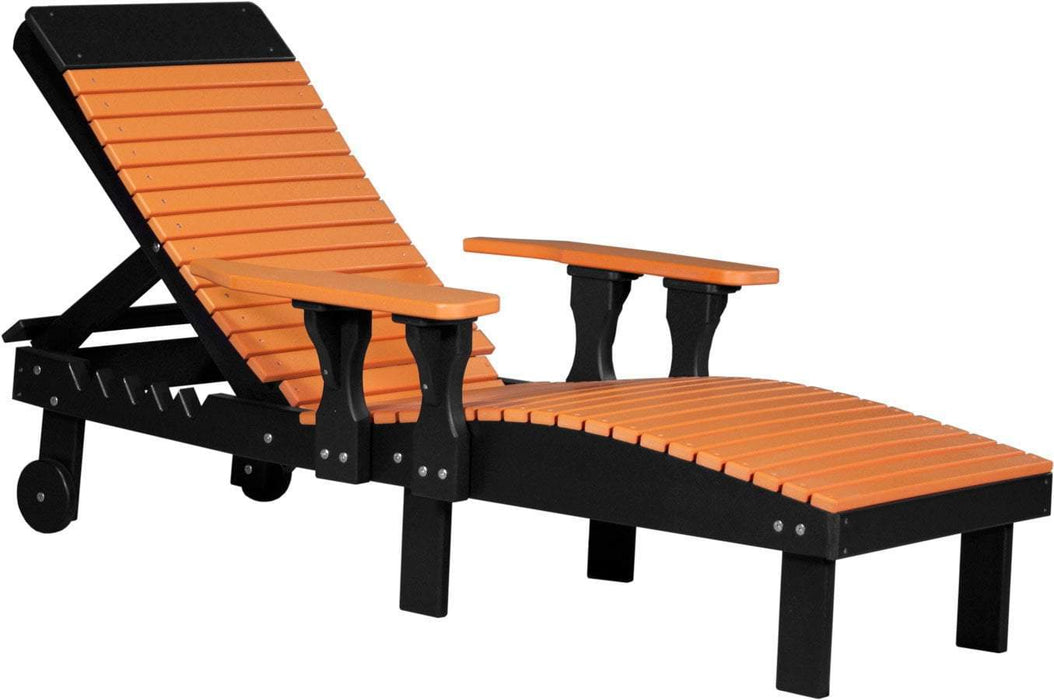 LuxCraft LuxCraft Recycled Plastic Lounge Chair Tangerine On Black Adirondack Deck Chair PLCTB