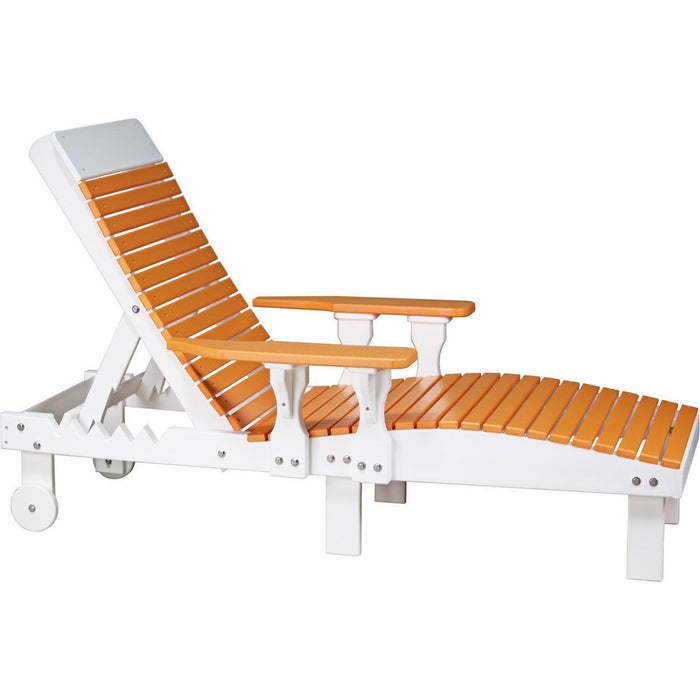 LuxCraft LuxCraft Recycled Plastic Lounge Chair Tangerine On White Adirondack Deck Chair PLCTW