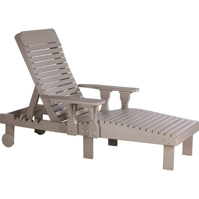 LuxCraft LuxCraft Recycled Plastic Lounge Chair Weatherwood Adirondack Deck Chair PLCWW
