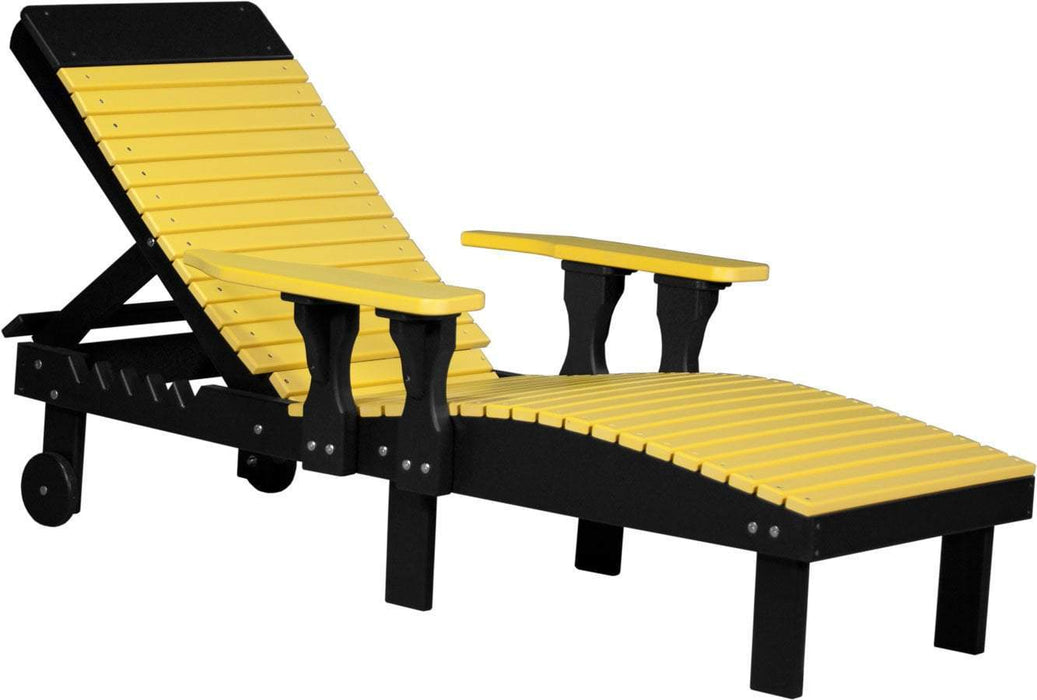 LuxCraft LuxCraft Recycled Plastic Lounge Chair Yellow on Black Adirondack Deck Chair PLCYB