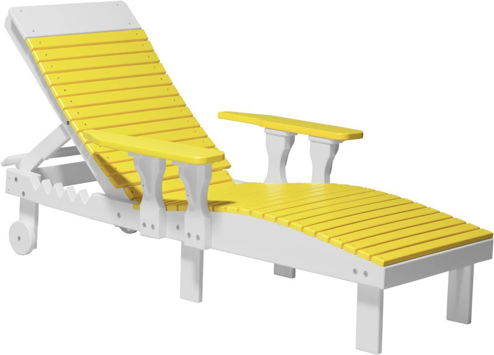 LuxCraft LuxCraft Recycled Plastic Lounge Chair Yellow on White Adirondack Deck Chair PLCYW