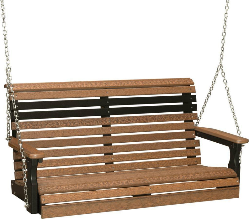 LuxCraft LuxCraft Rollback 4ft. Recycled Plastic Porch Swing Antique Mahogany on Black Porch Swing 4PPSAMB