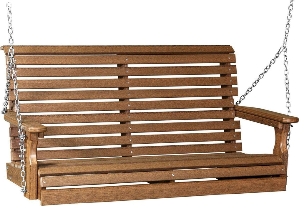 LuxCraft LuxCraft Rollback 4ft. Recycled Plastic Porch Swing Antique Mahogany Porch Swing 4PPSAM