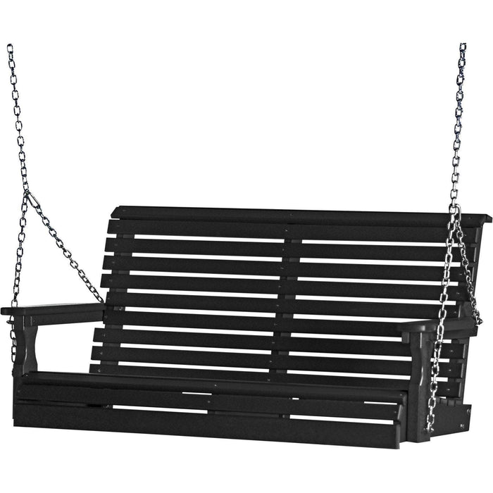 LuxCraft LuxCraft Rollback 4ft. Recycled Plastic Porch Swing Black Porch Swing 4PPSBK