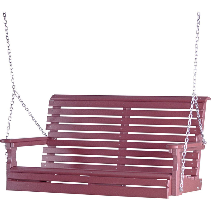 LuxCraft LuxCraft Rollback 4ft. Recycled Plastic Porch Swing Cherry Porch Swing 4PPSC