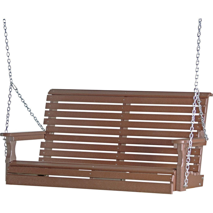 LuxCraft LuxCraft Rollback 4ft. Recycled Plastic Porch Swing Chestnut Brown Porch Swing 4PPSCBR