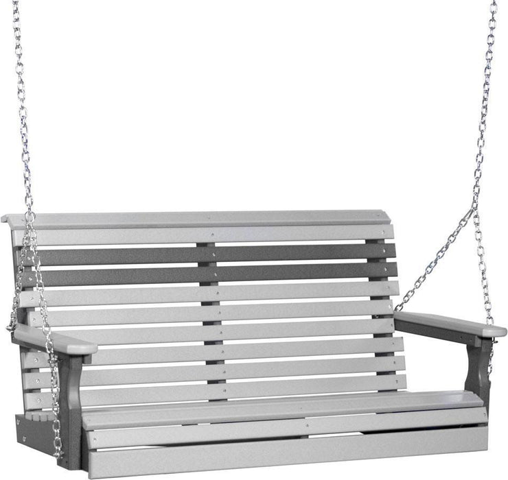 LuxCraft LuxCraft Rollback 4ft. Recycled Plastic Porch Swing Dove Gray On Slate Porch Swing 4PPSDGS