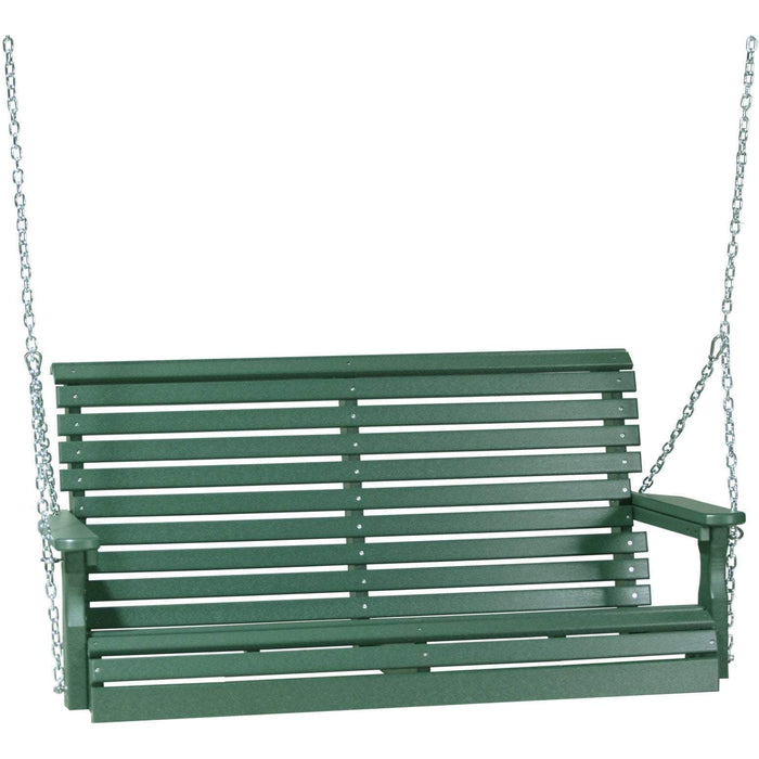 LuxCraft LuxCraft Rollback 4ft. Recycled Plastic Porch Swing Green Porch Swing 4PPSG