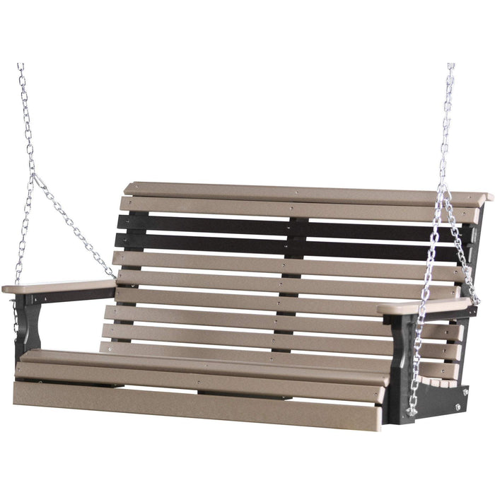 LuxCraft LuxCraft Rollback 4ft. Recycled Plastic Porch Swing Weatherwood On Black Porch Swing 4PPSWWB