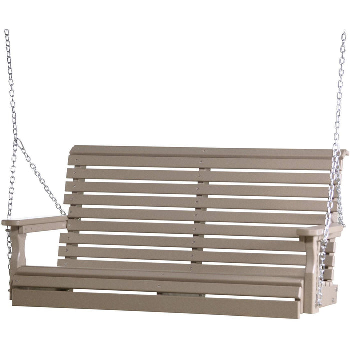 LuxCraft LuxCraft Rollback 4ft. Recycled Plastic Porch Swing Weatherwood Porch Swing 4PPSWW