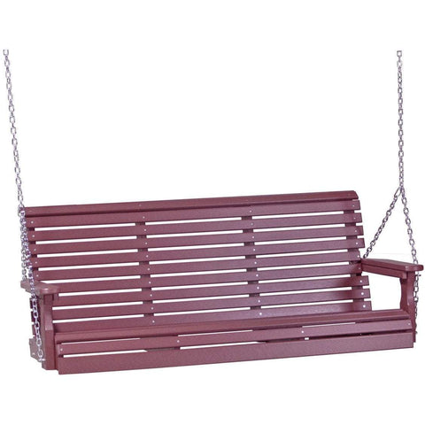 LuxCraft LuxCraft Rollback 5ft. Recycled Plastic Porch Swing Cherry Rollback Porch Swing 5PPSC