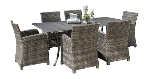Panama Jack Panama Jack Bridgehampton 7 PC Armchair Dining Set with Cushions Standard Dining Set PJO-1701-GRY-7DA-CUSH 811759029910