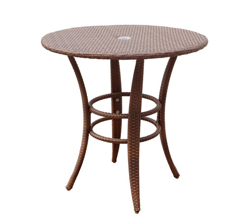 "Panama Jack Panama Jack Key Biscayne Woven 32"" Round Bistro Table with Glass Table PJO-7001-ATQ-BT-GL 857465002953"