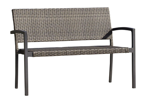 Panama Jack Ultra Stackable Woven Park Bench Loveseat 890-3213-GRY 193574045260