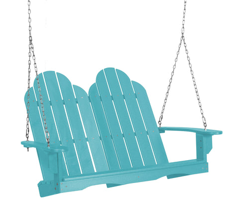 Wildridge Wildridge Classic 4 ft. Recycled Plastic Adirondack Porch Swing Aruba Blue Porch Swing LCC-204-AB