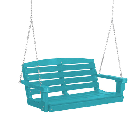 Wildridge Wildridge Classic 4 ft. Recycled Plastic Classic Porch Swing Aruba Blue Poly Porch Swing LCC-202-AB