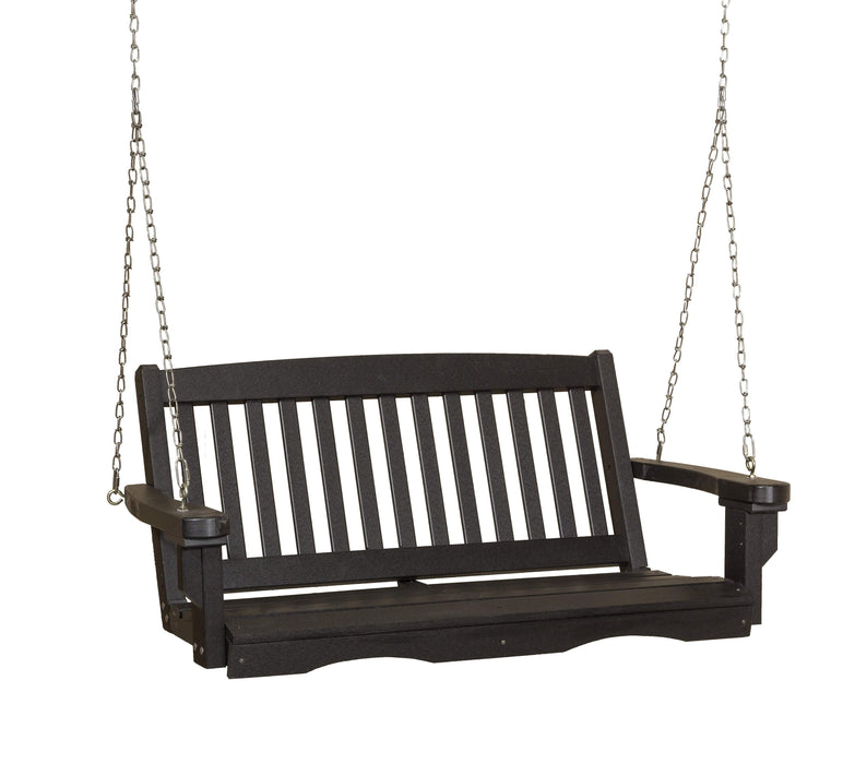 Wildridge Wildridge Classic 4 ft. Recycled Plastic Mission Porch Swing Black Poly Porch Swing LCC-205-B