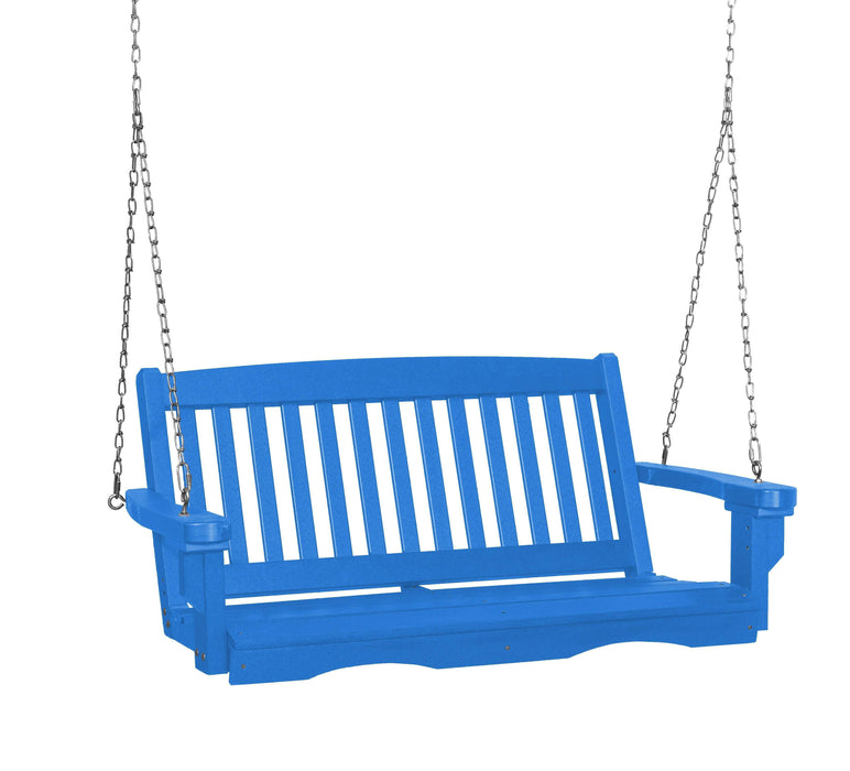 Wildridge Wildridge Classic 4 ft. Recycled Plastic Mission Porch Swing Blue Poly Porch Swing LCC-205-BL