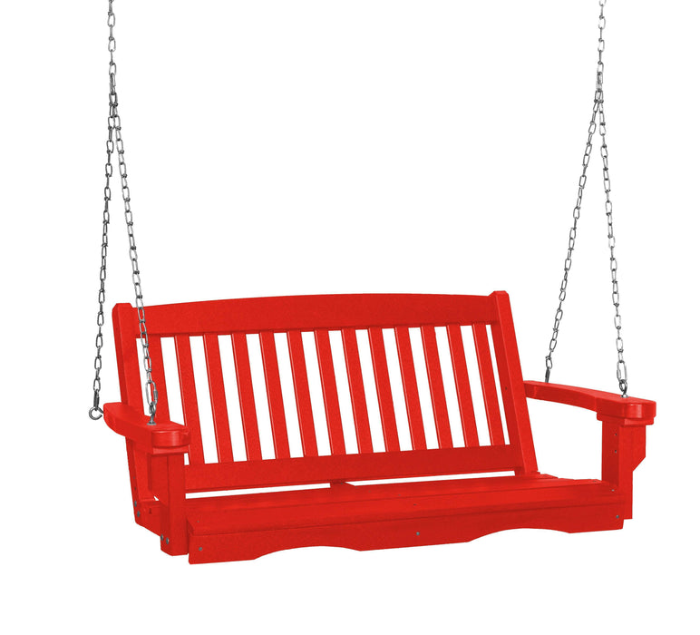 Wildridge Wildridge Classic 4 ft. Recycled Plastic Mission Porch Swing Bright Red Poly Porch Swing LCC-205-BR