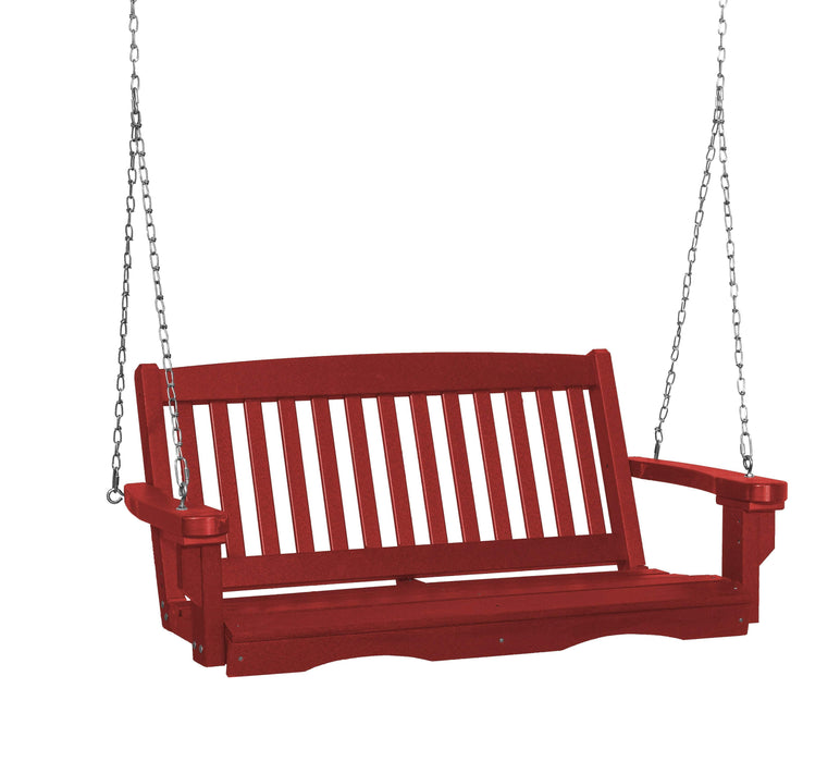 Wildridge Wildridge Classic 4 ft. Recycled Plastic Mission Porch Swing Cardinal Red Poly Porch Swing LCC-205-CR