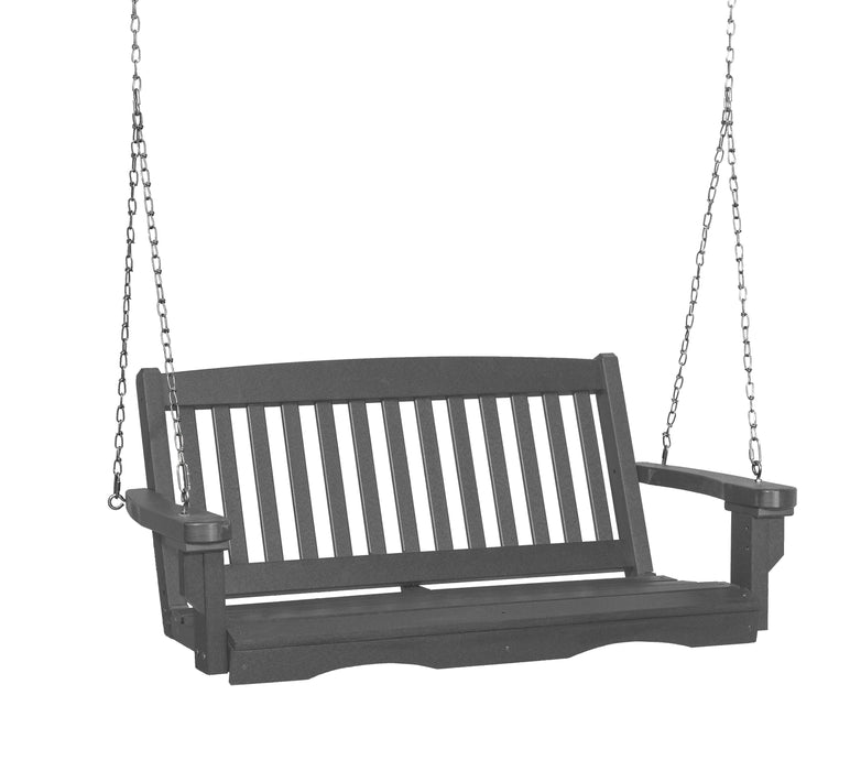 Wildridge Wildridge Classic 4 ft. Recycled Plastic Mission Porch Swing Dark Gray Poly Porch Swing LCC-205-DG