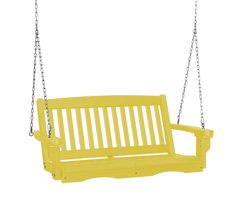 Wildridge Wildridge Classic 4 ft. Recycled Plastic Mission Porch Swing Lemon Yellow Poly Porch Swing LCC-205-LY