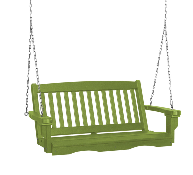 Wildridge Wildridge Classic 4 ft. Recycled Plastic Mission Porch Swing Lime Green Poly Porch Swing LCC-205-LG