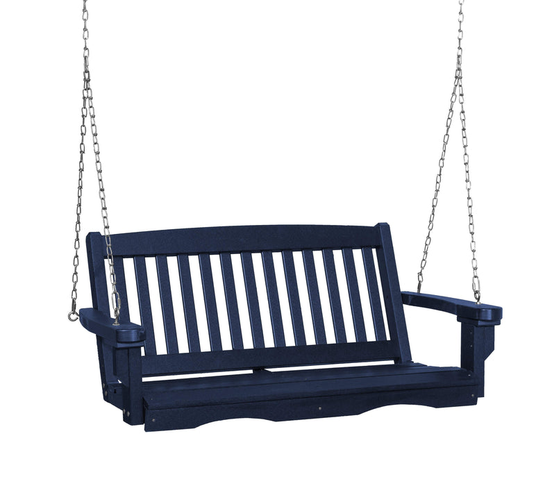 Wildridge Wildridge Classic 4 ft. Recycled Plastic Mission Porch Swing Patriot Blue Poly Porch Swing LCC-205-PAB