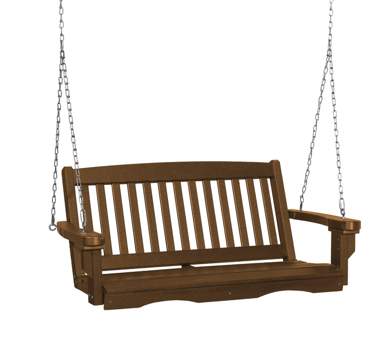 Wildridge Wildridge Classic 4 ft. Recycled Plastic Mission Porch Swing Tudor Brown Poly Porch Swing LCC-205-TB
