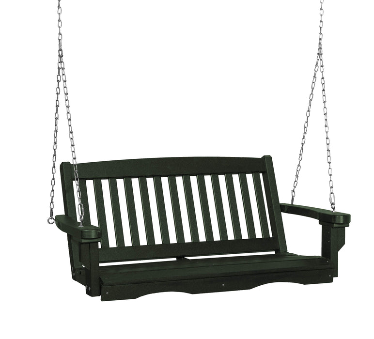 Wildridge Wildridge Classic 4 ft. Recycled Plastic Mission Porch Swing Turf Green Poly Porch Swing LCC-205-TG