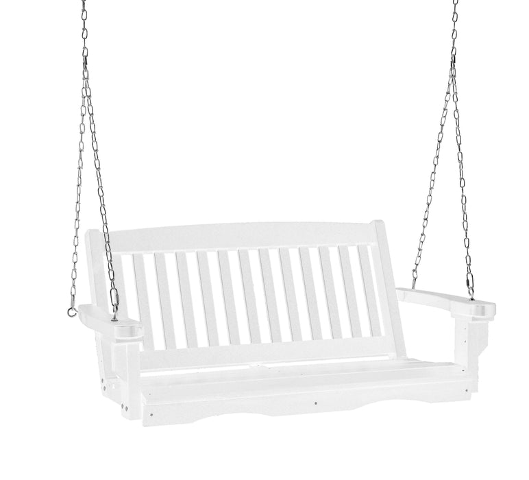 Wildridge Wildridge Classic 4 ft. Recycled Plastic Mission Porch Swing White Poly Porch Swing LCC-205-WH