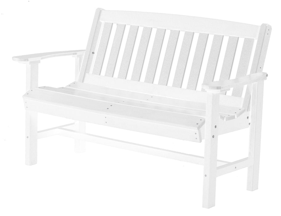 Wildridge Wildridge Classic Recycled Plastic Mission Bench White Outdoor Bench LCC-225-WH