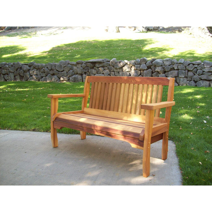 Wood Country Wood Country Cabbage Hill Red Cedar Outdoor Garden Bench 4 Foot / Stained + $34.00 Outdoor Bench WCCHGB1