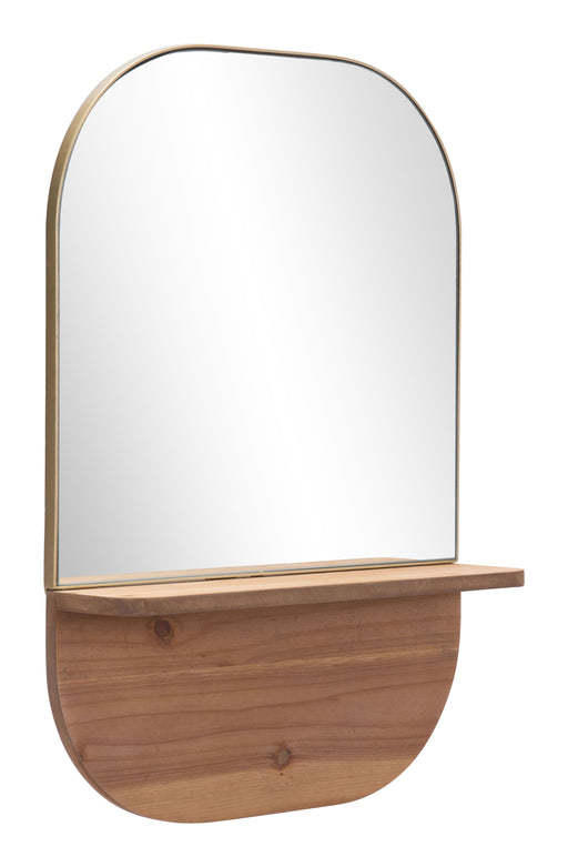 Zuo Modern Zuo Modern Meridian Shelf Mirror Gold & Brown Wall Decor A12208 842896142088
