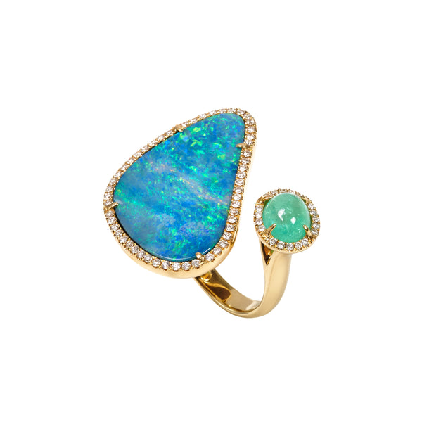 Floating Islands Collection - Diamond Opal and Paraiba Duette Ring