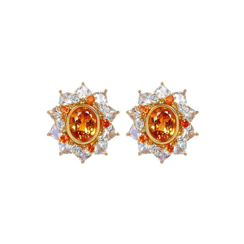 African Mandarin Orange Garnet, Moonstone, Fire Opal and Diamond Earrings