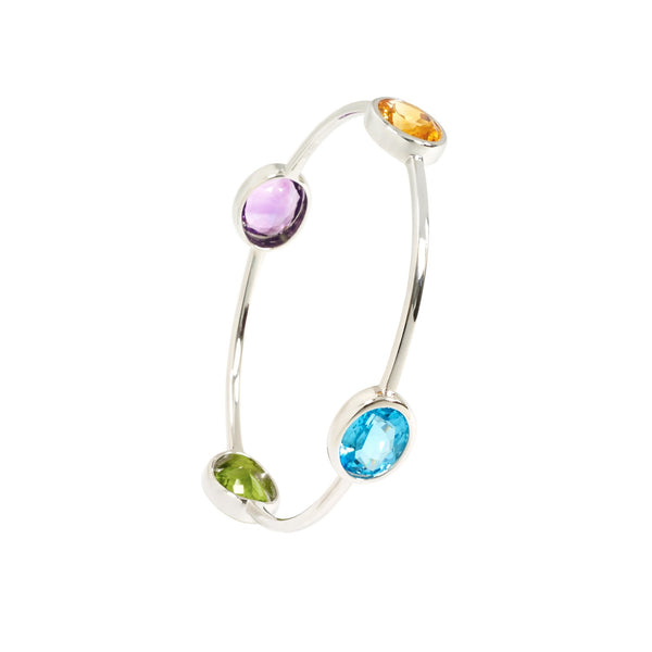 Blue topaz, Peridot, Amethyst and Citrine Bangle in white gold