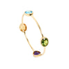 Blue topaz, Peridot, Amethyst and Citrine Bangle in yellow gold