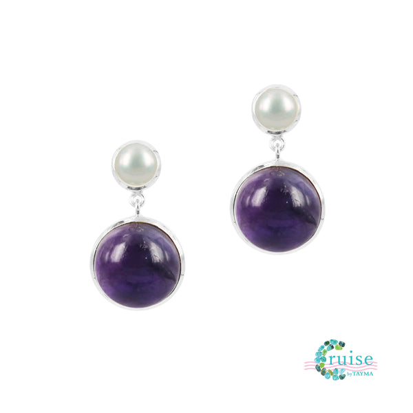 Freshwater pearl and Amethyst Earrings