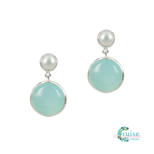 Freshwater pearl and Sea Foam Chalcedony Earrings