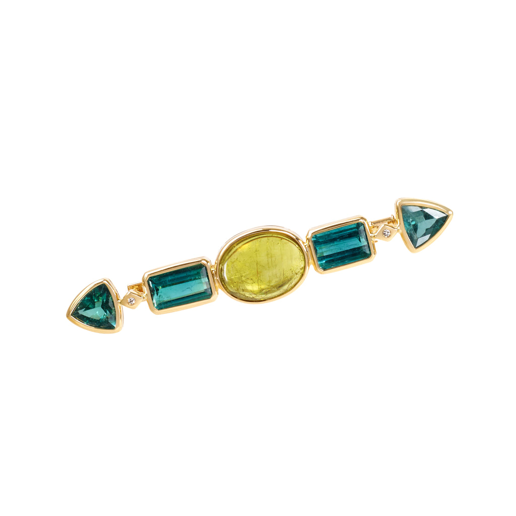 Canary yellow and green tourmaline Javelin brooch