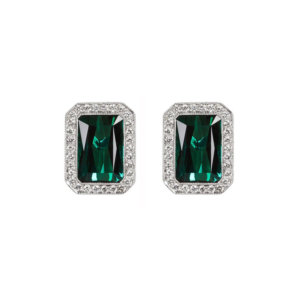 Chrome Green Tourmaline Diamond Earrings