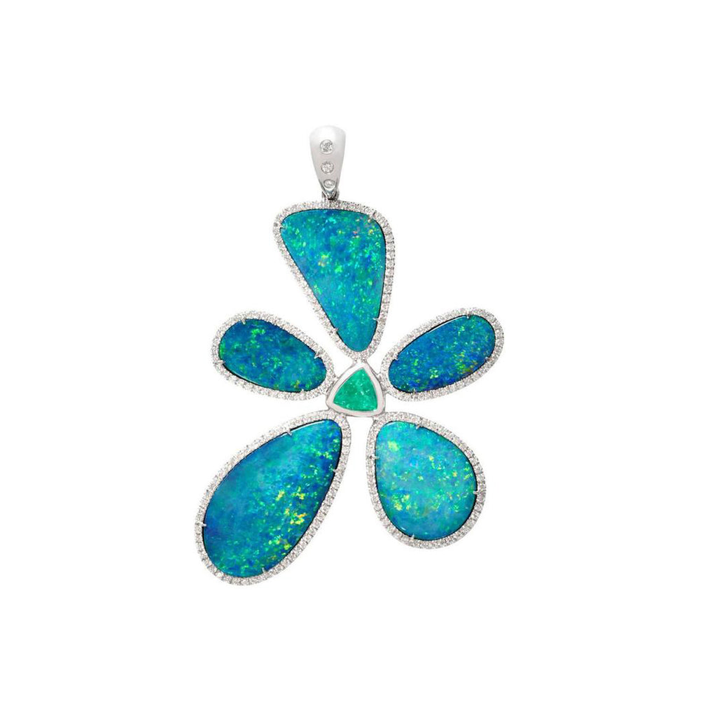 Floating Islands Collection - Opal Paraiba Tourmaline Diamond Gold Flower Pendant