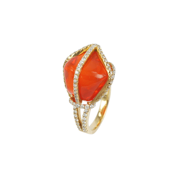 Mexican Fire Opal Dim Sum ring