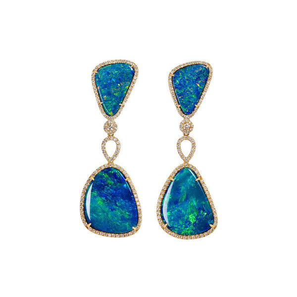 Floating Islands Collection - Opal and diamond detachable earrings
